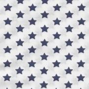 Bavlněná látka, 150x150 cm, bílá - modré tmavé hvězdy