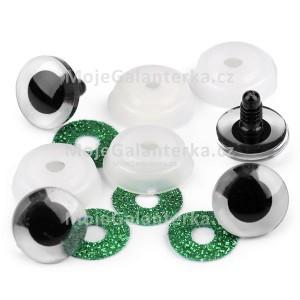 Bezpečnostní oči 20mm, glitrové zelené (1pár)