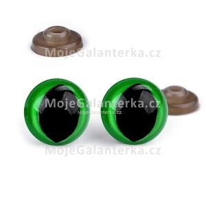 Bezpečnostní oči 14mm, KOČIČÍ, zelené (1pár)