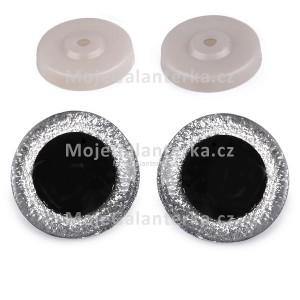 Bezpečnostní oči 40mm, glitrové stříbrné (1pár)