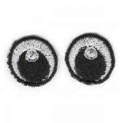 Oči vyšívané, 20 mm, bílé (1 pár)
