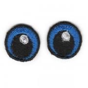 Oči vyšívané, 20 mm, modré tmavé (1 pár)