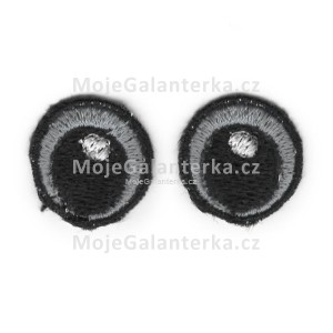 Oči vyšívané, 20 mm, šedé (1 pár)
