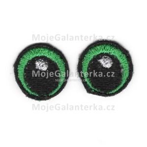 Oči vyšívané, 20 mm, zelené (1 pár)