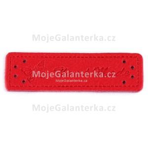 Cedulka HandMade, 50x15mm, červená
