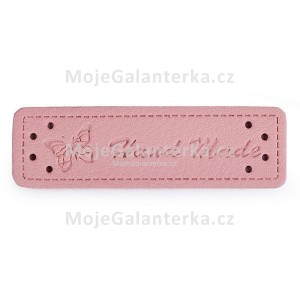 Cedulka HandMade, 50x15mm, pudrová (růžová)