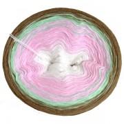 Příze Duhovka, bílá, baby růžová, mint, hnědošedá, 750m (11689)
