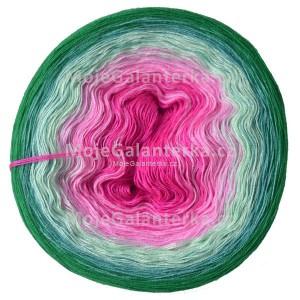 Příze Duhovka, cyklámen, růžová, mint, opál, smaragd, 750m (14254)