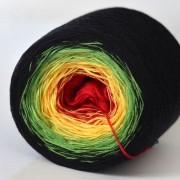 Příze Duhovka, červená, žlutá, zelená, černá, 750m (8834)