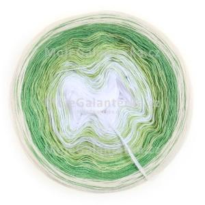 Příze Duhovka, bílá, sv.zelená, zelená, smetanová, 750m (10278)