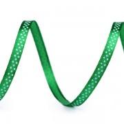 Stuha  6mm, saténová, zelená s puntíky