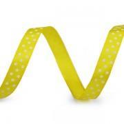 Stuha 10mm, saténová s puntíky, žlutá