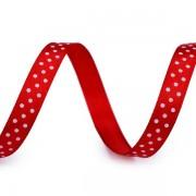 Stuha 10mm, saténová s puntíky, červená