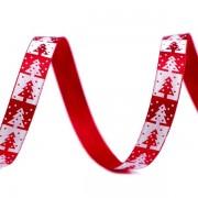 Stuha 10mm, saténová, stromeček, vánoční, červená