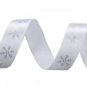 Stuha 20mm, saténová, vločky, vánoční, bílá-stříbrná