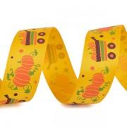 Stuha 25mm, rypsová, halloween, dýně 2, žlutá