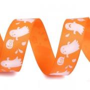 Stuha 25mm, rypsová, halloween, oranžová