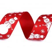 Stuha 25mm, vánoční rypsová, červená, sněhulák