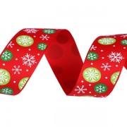 Stuha 25mm, vánoční rypsová, červená, vločka