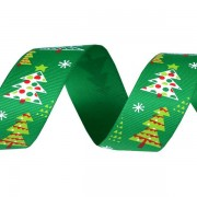 Stuha 25mm, vánoční rypsová, zelená, strom