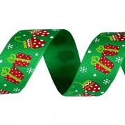 Stuha 25mm, vánoční rypsová, zelená, dárky